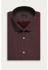 Brązowa koszula Tommy Hilfiger Tailored elegancka, z włoskim kołnierzykiem, długa