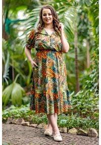 Moda Size Plus Iwanek - Sukienka Vera w cieniowany print XXL OVERSIZE WIOSNA. Okazja: na spacer. Materiał: elastan, tkanina, poliester. Długość rękawa: krótki rękaw. Wzór: nadruk. Sezon: wiosna. Typ sukienki: oversize. Styl: elegancki