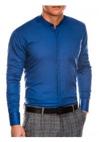 Niebieska koszula Ombre Clothing w jednolite wzory, z długim rękawem, ze stójką