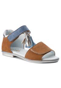 Brązowe sandały Mido na lato, z aplikacjami