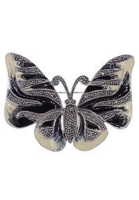 Braccatta - NIMFA Srebrna broszka markazyty emalia motyl. Materiał: srebrne. Kolor: srebrny. Wzór: aplikacja, kolorowy. Kamień szlachetny: markazyt