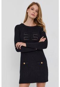 Elisabetta Franchi - Sukienka. Kolor: czarny. Długość rękawa: długi rękaw. Typ sukienki: dopasowane