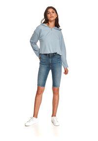 TOP SECRET - Jeansowe spodenki damskie do kolan. Kolor: niebieski. Materiał: jeans. Długość: do kolan. Sezon: jesień