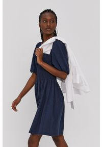 Vero Moda - Sukienka. Kolor: niebieski. Materiał: dzianina, bawełna. Długość rękawa: krótki rękaw. Typ sukienki: rozkloszowane