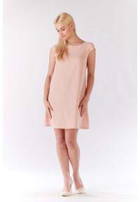 Różowa sukienka Lou-Lou trapezowa, z krótkim rękawem, mini