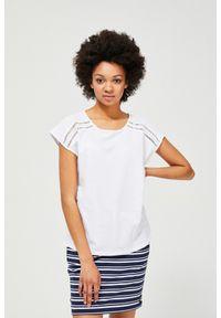 Biała bluzka MOODO klasyczna, z krótkim rękawem