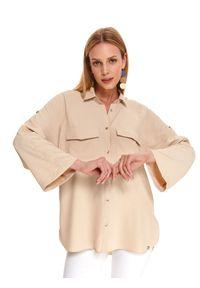 Beżowa koszula TOP SECRET z długim rękawem, długa, na jesień, na co dzień