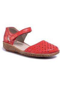 Czerwone sandały Rieker casualowe, na co dzień