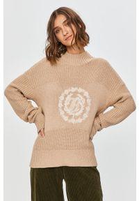 Beżowy sweter TOMMY HILFIGER z golfem, na co dzień, z długim rękawem, z aplikacjami