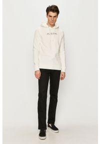 Biała bluza nierozpinana Premium by Jack&Jones z kapturem, casualowa, z nadrukiem