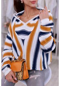 Żółty sweter IVET z kapturem, na jesień