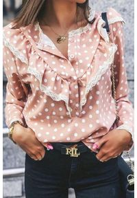 Różowa bluzka IVET z falbankami, elegancka