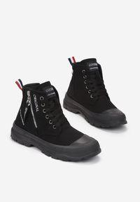 Born2be - Czarne Trampki Tara. Nosek buta: okrągły. Zapięcie: zamek. Kolor: czarny. Materiał: guma. Szerokość cholewki: normalna. Wzór: aplikacja, kolorowy. Styl: klasyczny #6