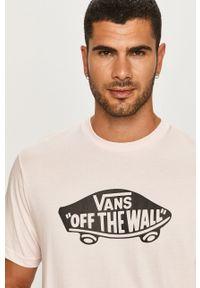 Różowy t-shirt Vans na co dzień, z nadrukiem, casualowy