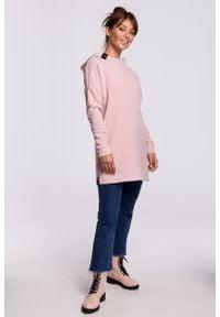 e-margeritka - Bluza długa oversize z kapturem różowa - l/xl. Typ kołnierza: kaptur. Kolor: różowy. Materiał: poliester, dzianina, bawełna, materiał. Długość: długie. Wzór: gładki