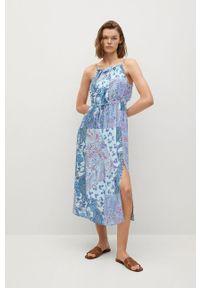 mango - Mango - Sukienka Mysuru. Kolor: niebieski. Materiał: tkanina. Długość rękawa: na ramiączkach. Typ sukienki: rozkloszowane