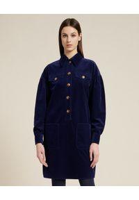 Luisa Spagnoli - LUISA SPAGNOLI - Aksamitna sukienka koszulowa Graduale. Kolor: niebieski. Materiał: sztruks. Typ sukienki: koszulowe