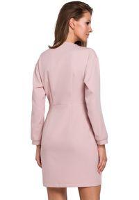 Makover - Elegancka kopertowa sukienka z asymetrycznym dołem. Typ sukienki: asymetryczne, kopertowe. Styl: elegancki. Długość: mini