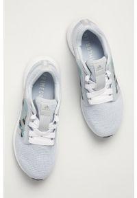 Niebieskie buty sportowe adidas Performance z okrągłym noskiem, z cholewką, na średnim obcasie