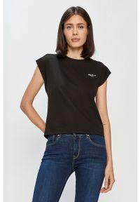 Czarna bluzka Pepe Jeans gładkie, na co dzień, casualowa