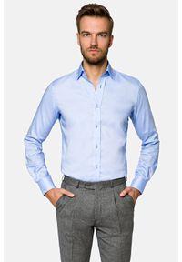 Lancerto - Koszula Niebieska Maia 6. Kolor: niebieski. Materiał: bawełna, tkanina. Wzór: haft. Styl: wizytowy