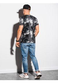 Ombre Clothing - T-shirt męski z nadrukiem S1377 - grafitowy - XXL. Kolor: szary. Materiał: bawełna, poliester. Wzór: nadruk