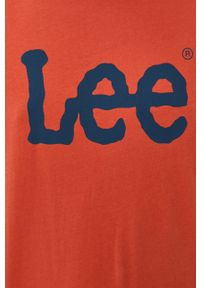 Lee - T-shirt. Okazja: na co dzień. Kolor: pomarańczowy. Materiał: bawełna. Wzór: nadruk. Styl: casual