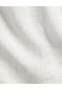 Ralph Lauren - RALPH LAUREN - Lniana koszula Slim Fit. Typ kołnierza: polo. Kolor: szary. Materiał: len. Długość rękawa: długi rękaw. Długość: długie. Wzór: haft #7