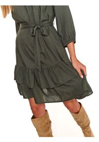 TOP SECRET - Sukienka damska gładka. Kolor: brązowy. Wzór: gładki