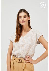 MOODO - T-shirt z bawełny organicznej. Typ kołnierza: dekolt w serek. Materiał: bawełna. Długość rękawa: bez rękawów. Wzór: nadruk