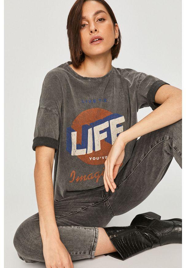 Szara bluzka Answear Lab na co dzień, z nadrukiem, wakacyjna