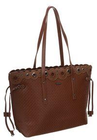 DAVID JONES - Klasyczna torebka damska David Jones brąz CM5834. Kolor: brązowy. Materiał: skórzane. Styl: klasyczny