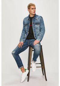 Czarna bluza nierozpinana Calvin Klein z nadrukiem, na co dzień, bez kaptura