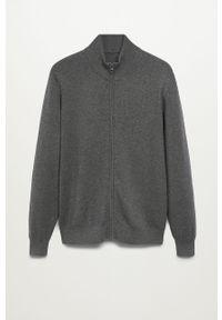 Szary sweter rozpinany Mango Man casualowy, na co dzień