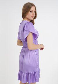 Born2be - Fioletowa Sukienka Daphniphe. Typ kołnierza: dekolt gorset. Kolor: fioletowy. Wzór: aplikacja. Sezon: lato, wiosna. Typ sukienki: gorsetowe. Długość: mini