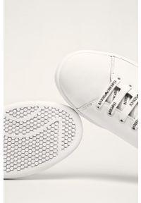 Białe buty sportowe Emporio Armani na sznurówki, z cholewką