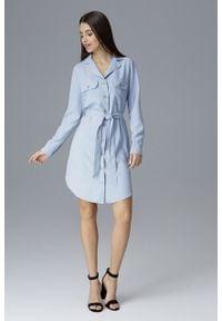 e-margeritka - Koszulowa sukienka midi zapinana na guziki błękit - s. Okazja: na spotkanie biznesowe, do pracy. Materiał: poliester, materiał. Długość rękawa: długi rękaw. Wzór: aplikacja. Typ sukienki: koszulowe. Styl: elegancki, biznesowy. Długość: midi