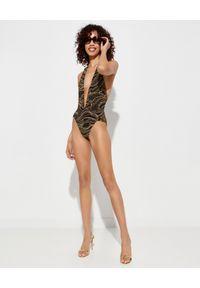 Camilla - CAMILLA - Body z głębokim dekoltem i kryształami. Okazja: na imprezę. Typ kołnierza: dekolt halter. Kolor: brązowy. Materiał: elastan, jeans, materiał. Wzór: nadruk. Sezon: lato #5