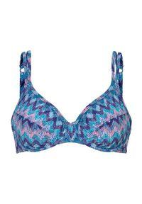Cellbes Góra od bikini turkusowy Wzór zygzaka female niebieski/turkusowy/ze wzorem 80B. Kolor: turkusowy, niebieski, wielokolorowy