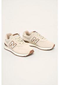 Kremowe sneakersy New Balance z cholewką, na sznurówki, z okrągłym noskiem