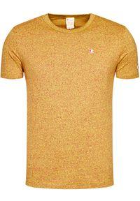 Champion T-Shirt Jaspé Crew Neck 214942 Żółty Comfort Fit. Kolor: żółty