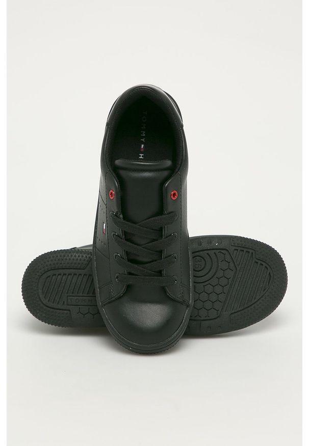 Czarne buty sportowe TOMMY HILFIGER z cholewką, na sznurówki