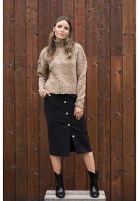 VEVA - Spódnica z guzikami Wonder czarna. Okazja: na randkę, na spotkanie biznesowe. Kolor: czarny. Styl: biznesowy, elegancki