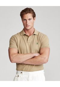 Ralph Lauren - RALPH LAUREN - Beżowa koszulka polo Mesh Classic Fit. Typ kołnierza: polo. Kolor: beżowy. Materiał: mesh. Wzór: haft #1