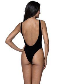 Czarny strój kąpielowy Lorin z odpinanymi ramiączkami, z nadrukiem