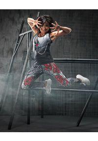 FJ! - Top PUNK. Materiał: dzianina, skóra, lycra. Wzór: aplikacja, nadruk. Sport: joga i pilates, fitness