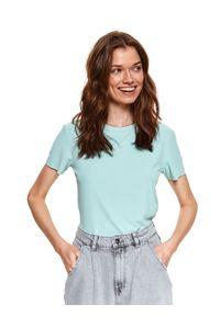 TOP SECRET - T-shirt z okrągłym dekoltem. Kolor: zielony. Materiał: tkanina, prążkowany. Długość rękawa: krótki rękaw. Długość: krótkie. Wzór: aplikacja. Sezon: wiosna