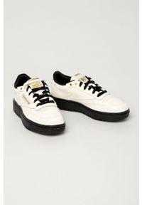 Białe buty sportowe Reebok Classic z okrągłym noskiem, z cholewką, na średnim obcasie