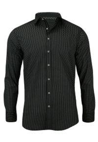 Czarna elegancka koszula Rigon z długim rękawem, na spotkanie biznesowe, długa