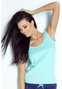 IVON - Koszulka do Spania z Aplikacją Serca - Miętowa. Kolor: miętowy. Materiał: elastan, bawełna. Wzór: aplikacja